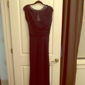 Navy chiffon floor length dress